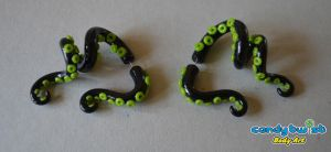 Polymer Clay Tentacle Fake-Gauge Earrings by Dabstar