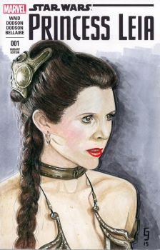 Slave Leia Sketch Cover by Geekincognito