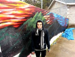 Doing my mural in the rain :) by AnthonySturgeon