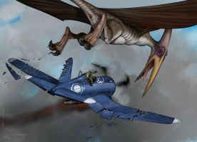 Corsair vs Pterausorus by Viviengros