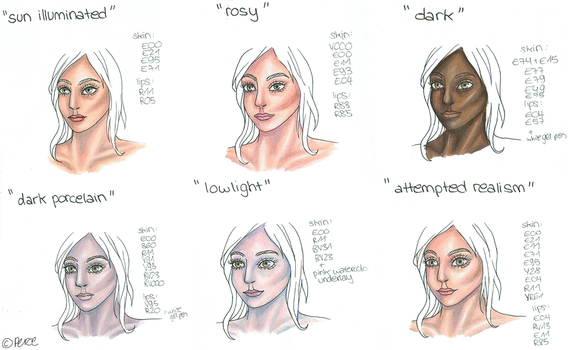 6 different skin colors with Copics by 0137Amy0137