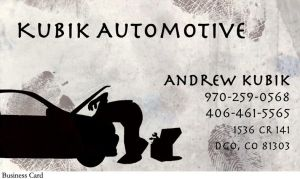 Kubik Automotive business card design by colormecrazi