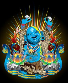 Happy Kustom Kulture Buddha by Johnny-Sputnik