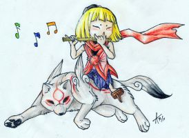 Okamiden -Chibi And Kurow by ARVEN92
