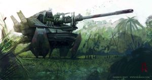 Giant tank mecha by Vaejoun