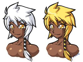 Random girl busts doodles by rongs1234