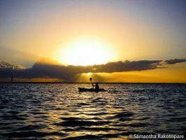 Sunset from Reunion island by kitty974
