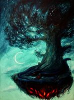 Sleeping with the dragon under the Tree of Stars  by Wideen
