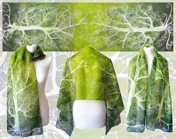 Fresh green silk scarf by MinkuLul