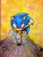 Sonic's escape - Colour pencil by MissTangshan95