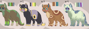 4 Canine Adoptables for Points-OPEN by Jesija