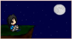 Hikari looks at the moon by little-ampharos