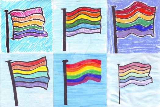 Six Rainbow Flags by engineerJR