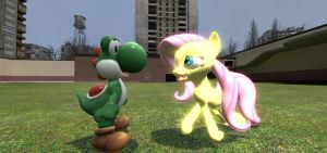 Fluttershy meets Yoshi by sp19047