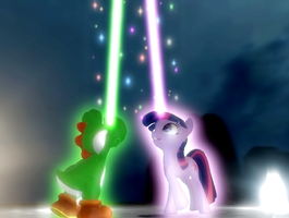 Let our magic flow to the sky AT NIGHT by IcePony64