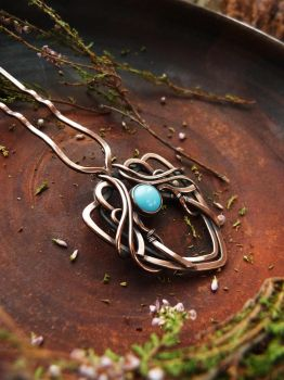 Hair pin with blue cabochon by UrsulaJewelry