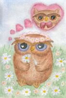 Owl in love by Muse-Urania