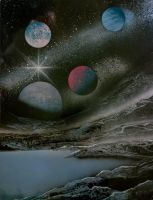 Planets over lake by JessicaSoulier