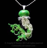 Green Jellyfish Pendant by carmendee