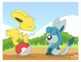 Chibi Jolteon and Glaceon by pichu90