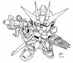 SD Air Strike Gundam lineart by Mintyrobo
