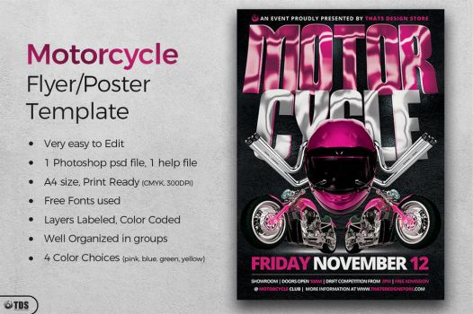 Motorcycle Flyer Template by Thats-Design