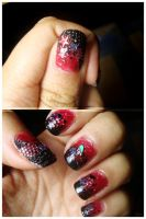 Nail art black and red by G3N3