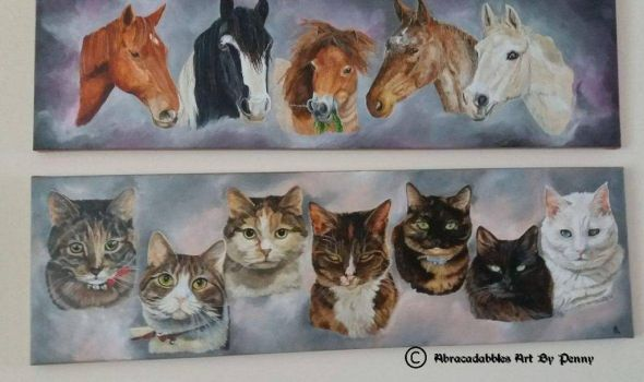 5 horses and 7 cats matching pet portraits  by Abracadabbles