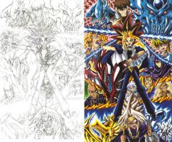 Yu-Gi-Oh! fan art sketch and color 01 by d13mon-studios
