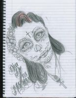 Day of The Dead Skull 2 by 12KathyLees12