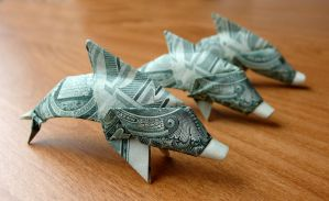 Dollar Origami Dolphins by craigfoldsfives