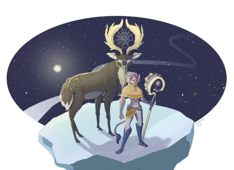 Celestial Mage and Stag by Dove-Dragon