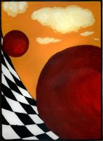 Red Sphere Plain by dinshino