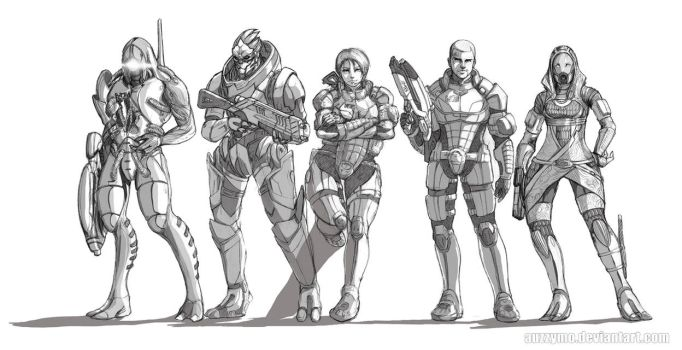 Mass Effect Characters by Auzzymo