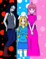 Princess Bubblegum, Marceline and Fionna by LilithShiro
