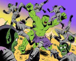 Hulk vs. Skrulls for PUMMEL by IanJMiller