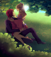 My Candy Love - Castiel and Candy near a lake by E-Mika-Zg