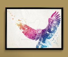 eagle watercolor print by ColourInk