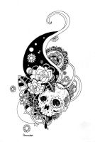 Skull and flowers by blood-pleasures