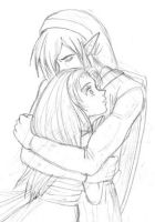 Link and Marin's embrace by Adella
