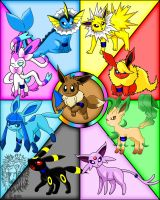 My Team Eevee x3 by TheDocRoach