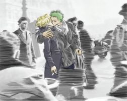 KISS ZORO X SANJI by MMCoconut