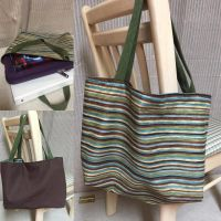 Reversible Tote Bag - Green and Brown Stripes by chishio-kyuuban
