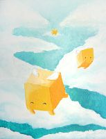 Flight of the cubes painting by TheCuraga