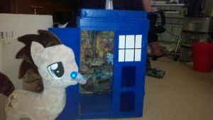 Dr whooves mlp plush with Tardis case by Evilwarlordgu