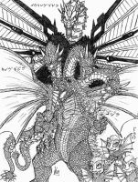 Godzilla vs King Ghidorah by Metallian1990