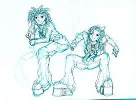 the twins - sketch by doodler