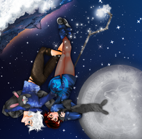 Jack Frost and Bunny on the Moon by conejogalactiko