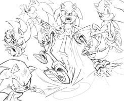 action poses - sonic by Shira-hedgie