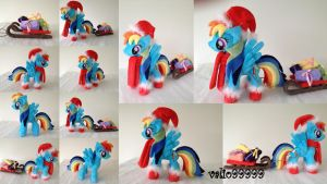Chrismas time handmade Rainbow Dash plush by valio99999